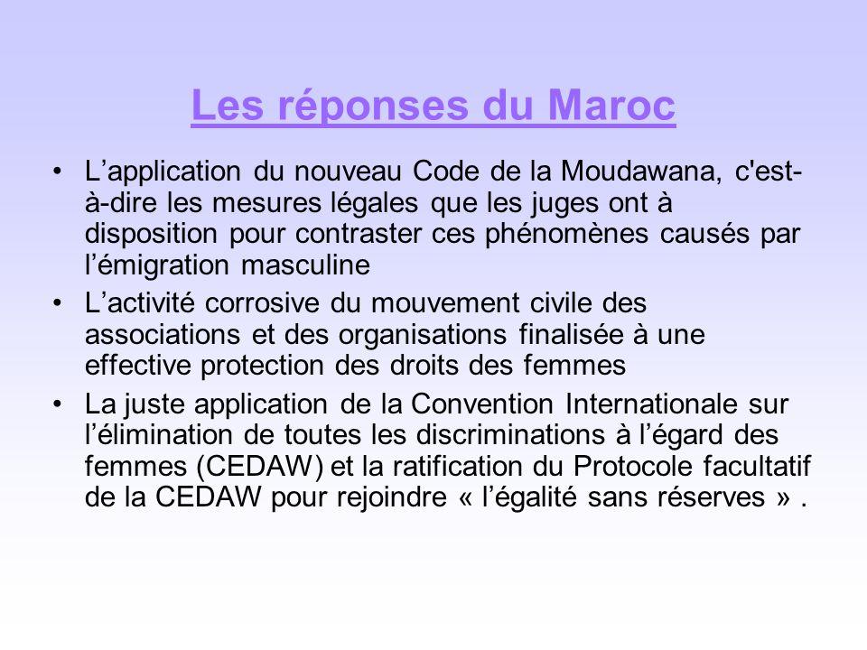 Les réponses du Maroc Lapplication du nouveau Code de la Moudawana, c'est- à-dire les mesures légales que les juges ont à disposition pour contraster