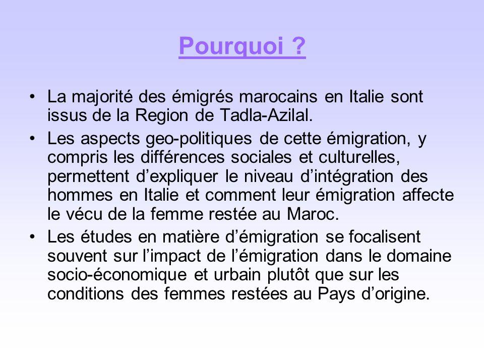 Pourquoi ? La majorité des émigrés marocains en Italie sont issus de la Region de Tadla-Azilal. Les aspects geo-politiques de cette émigration, y comp