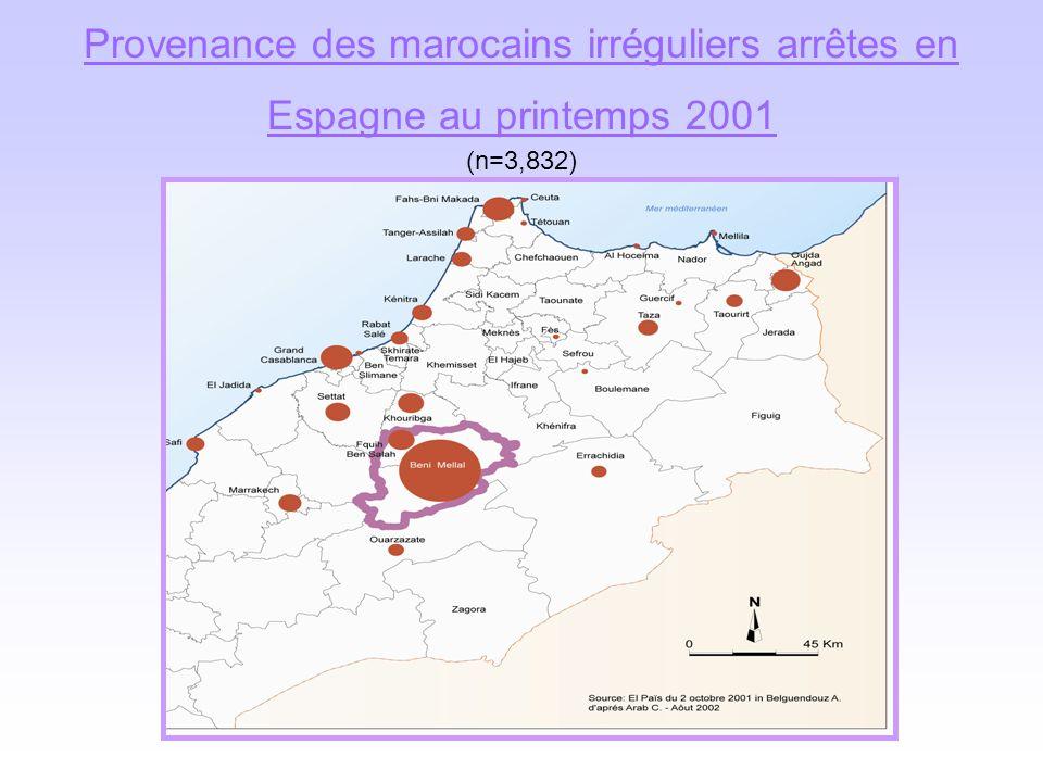 Provenance des marocains irréguliers arrêtes en Espagne au printemps 2001 (n=3,832)