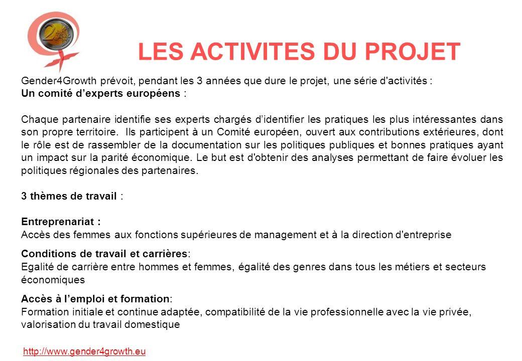 http://www.gender4growth.eu LES ACTIVITES DU PROJET Gender4Growth prévoit, pendant les 3 années que dure le projet, une série d'activités : Un comité