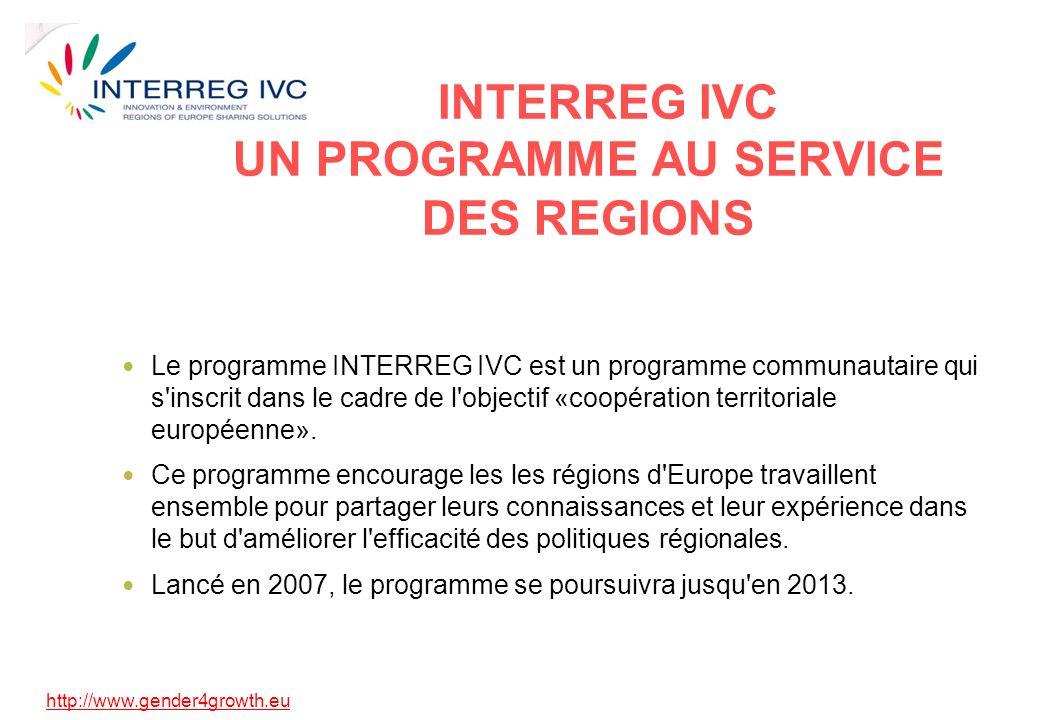 http://www.gender4growth.eu INTERREG IVC UN PROGRAMME AU SERVICE DES REGIONS Le programme INTERREG IVC est un programme communautaire qui s inscrit dans le cadre de l objectif «coopération territoriale européenne».