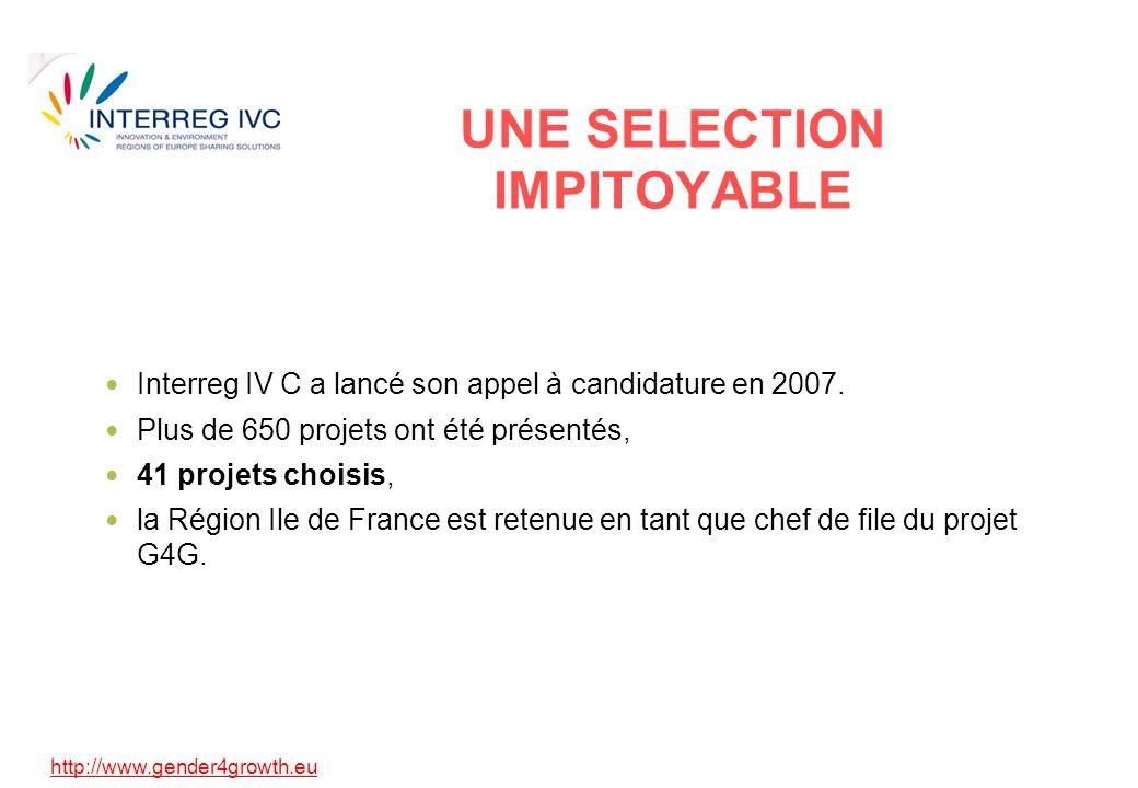 http://www.gender4growth.eu UNE SELECTION IMPITOYABLE Interreg IV C a lancé son appel à candidature en 2007. Plus de 650 projets ont été présentés, 41