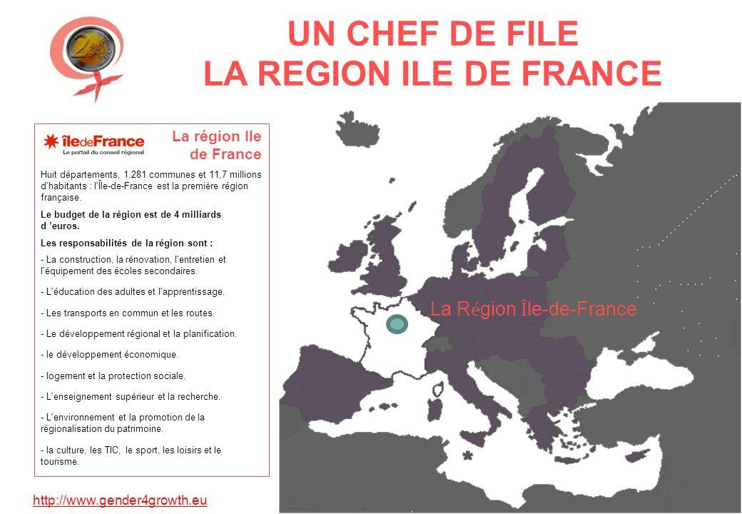 http://www.gender4growth.eu UN CHEF DE FILE LA REGION ILE DE FRANCE La R é gion Î le-de-France La région Ile de France Huit départements, 1.281 communes et 11,7 millions d habitants : l Île-de-France est la première région française.
