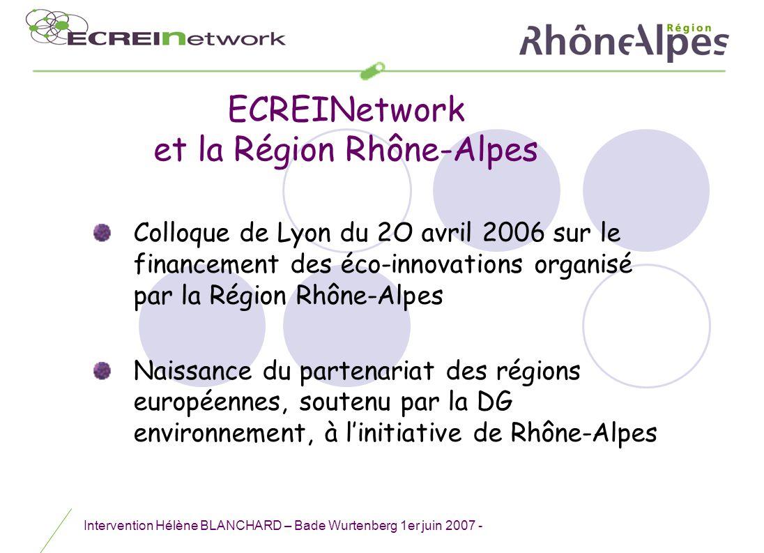 Intervention Hélène BLANCHARD – Bade Wurtenberg 1er juin 2007 - Colloque de Lyon du 2O avril 2006 sur le financement des éco-innovations organisé par