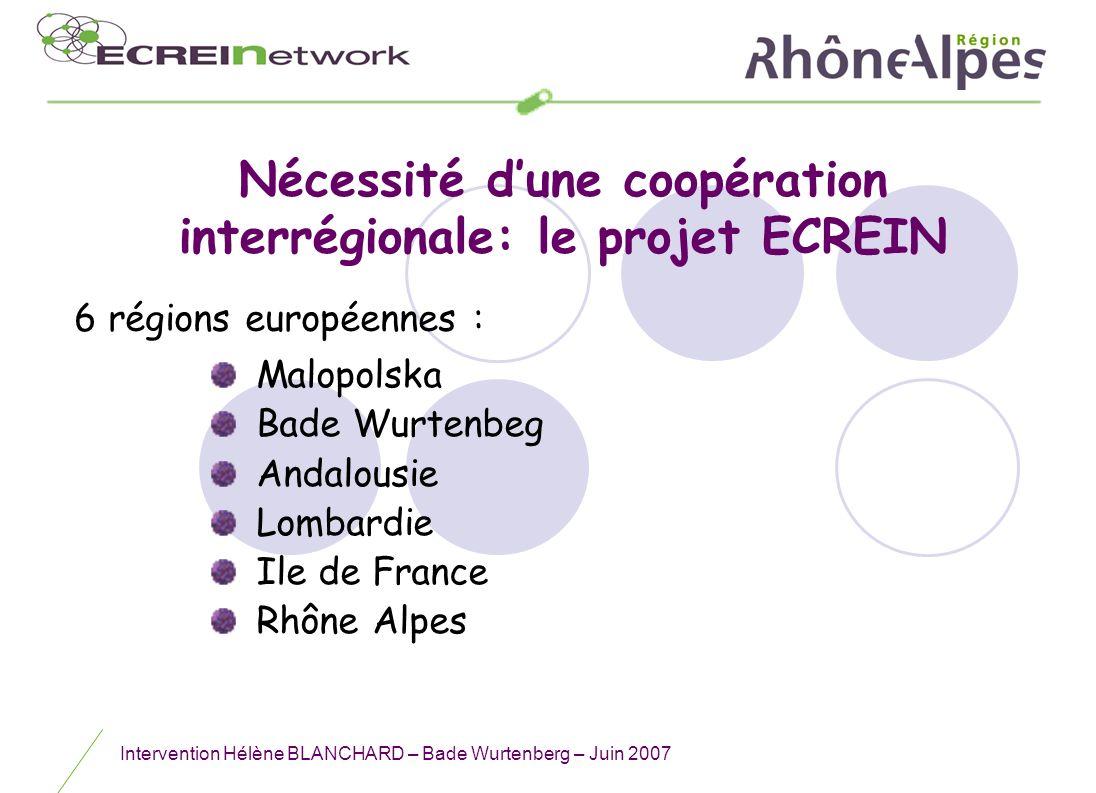 Intervention Hélène BLANCHARD – Bade Wurtenberg – Juin 2007 Nécessité dune coopération interrégionale: le projet ECREIN Malopolska Bade Wurtenbeg Anda