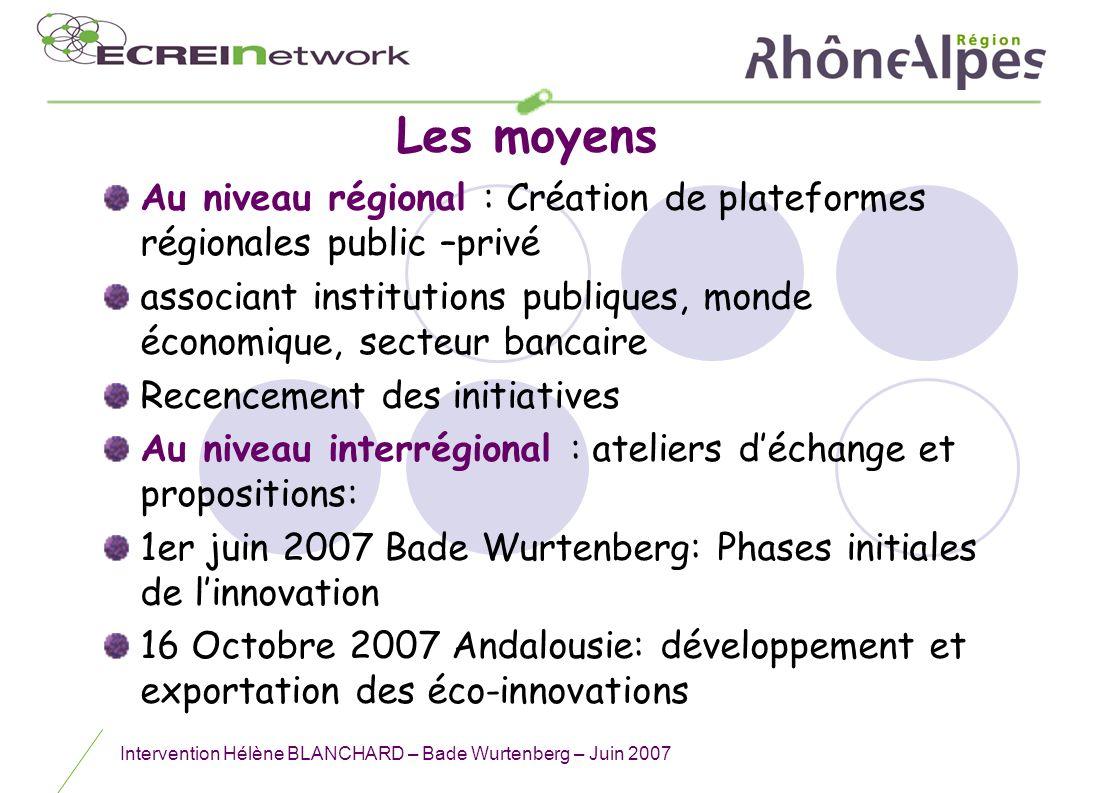 Intervention Hélène BLANCHARD – Bade Wurtenberg – Juin 2007 Les moyens Au niveau régional : Création de plateformes régionales public –privé associant
