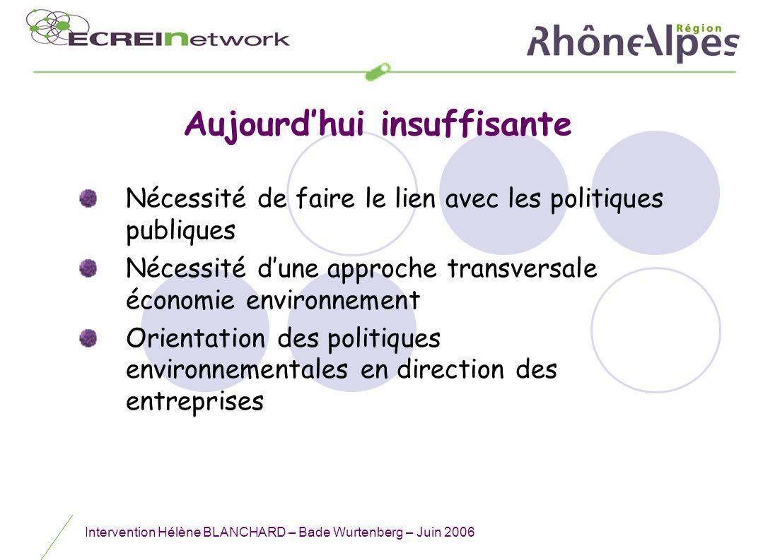 Intervention Hélène BLANCHARD – Bade Wurtenberg – Juin 2006 Aujourdhui insuffisante Nécessité de faire le lien avec les politiques publiques Nécessité