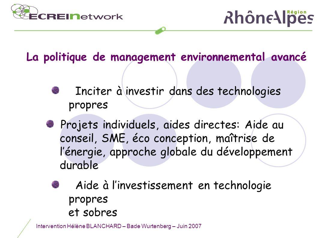 Intervention Hélène BLANCHARD – Bade Wurtenberg – Juin 2007 Inciter à investir dans des technologies propres Projets individuels, aides directes: Aide