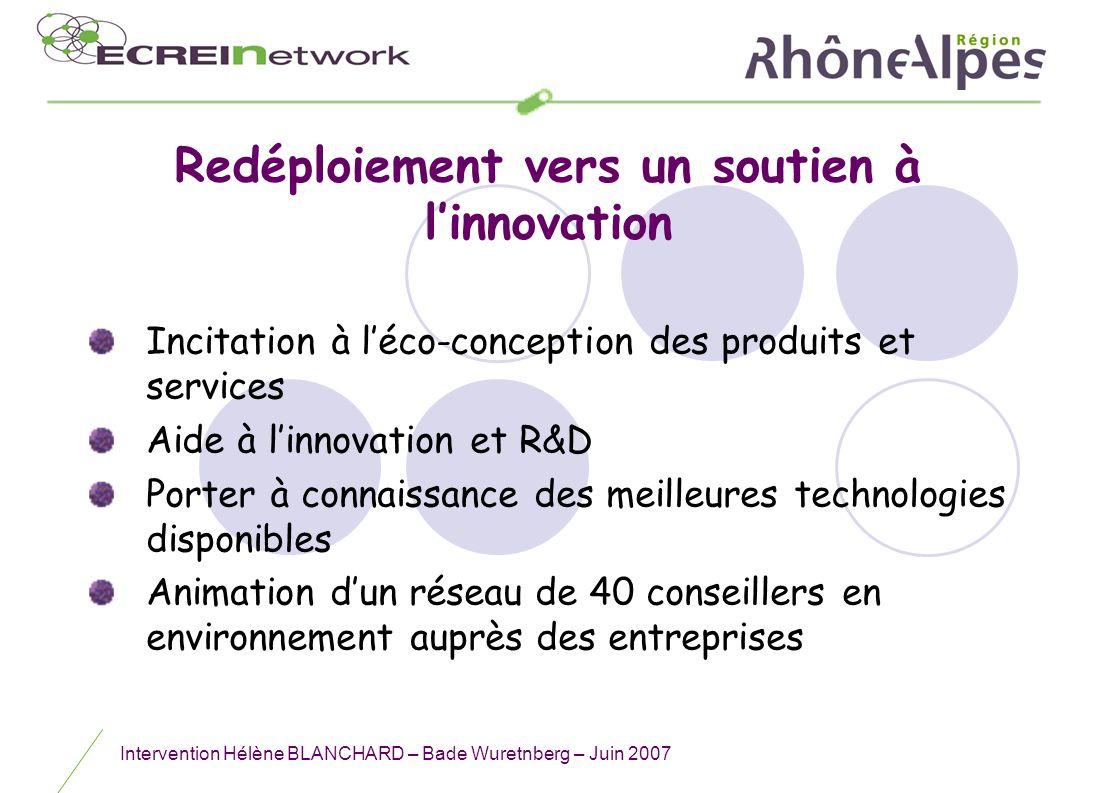 Intervention Hélène BLANCHARD – Bade Wuretnberg – Juin 2007 Redéploiement vers un soutien à linnovation Incitation à léco-conception des produits et s
