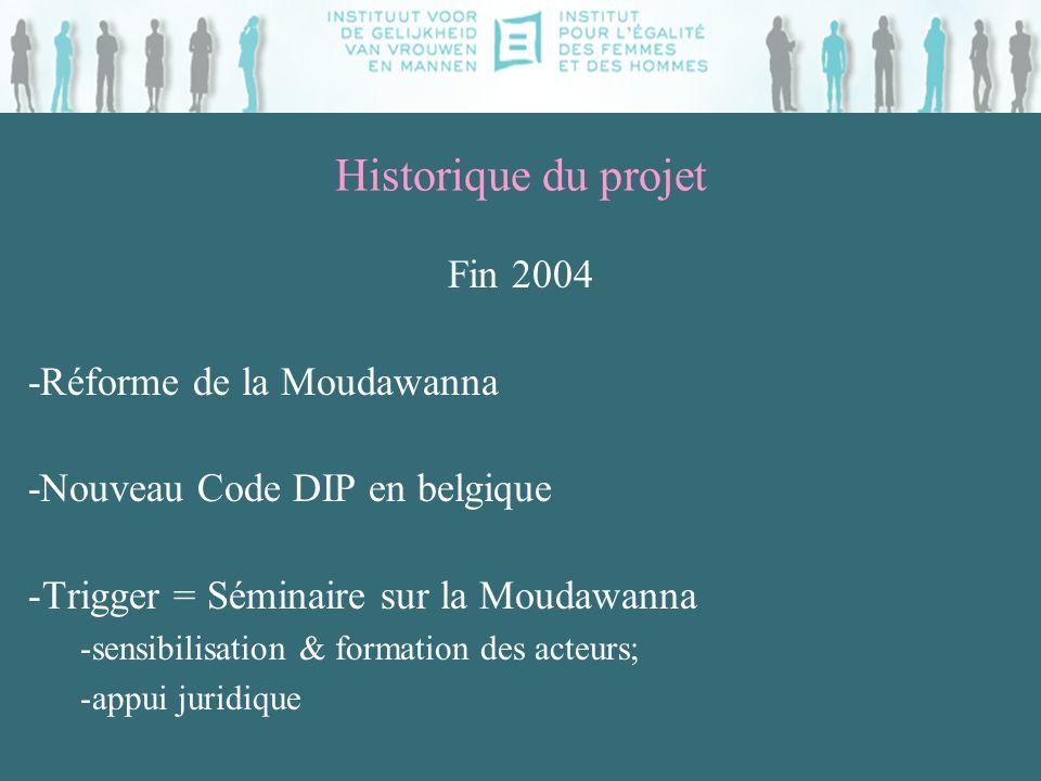 Historique du projet Fin 2004 -Réforme de la Moudawanna -Nouveau Code DIP en belgique -Trigger = Séminaire sur la Moudawanna -sensibilisation & formation des acteurs; -appui juridique