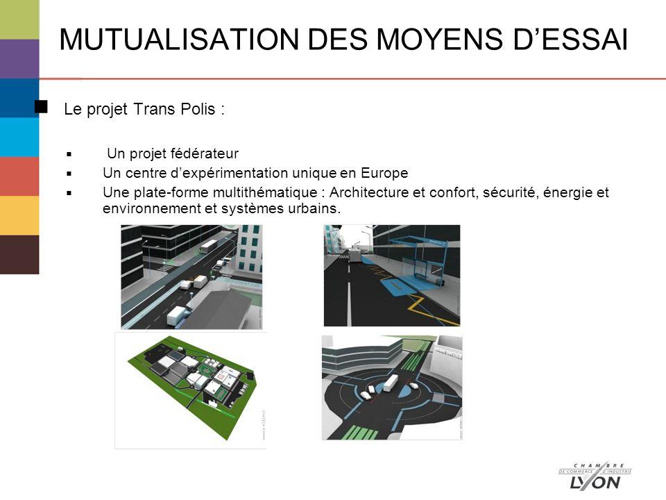 Le projet Trans Polis : Un projet fédérateur Un centre dexpérimentation unique en Europe Une plate-forme multithématique : Architecture et confort, sécurité, énergie et environnement et systèmes urbains.