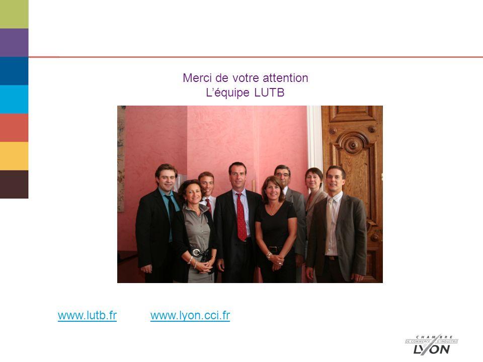 Merci de votre attention Léquipe LUTB www.lutb.frwww.lutb.fr www.lyon.cci.frwww.lyon.cci.fr
