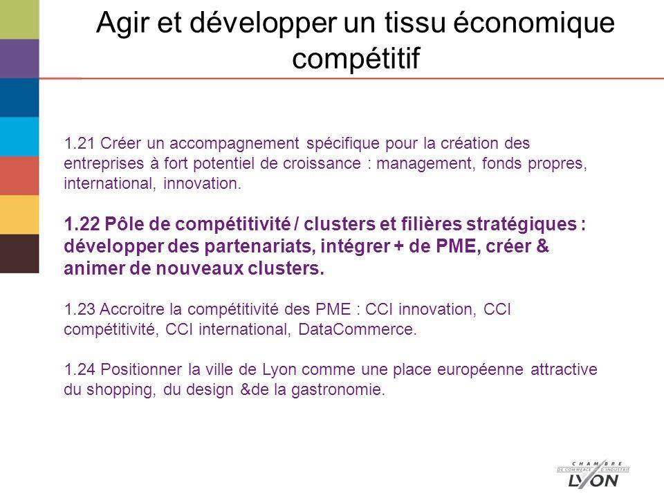 Agir et développer un tissu économique compétitif 1.21 Créer un accompagnement spécifique pour la création des entreprises à fort potentiel de croissance : management, fonds propres, international, innovation.