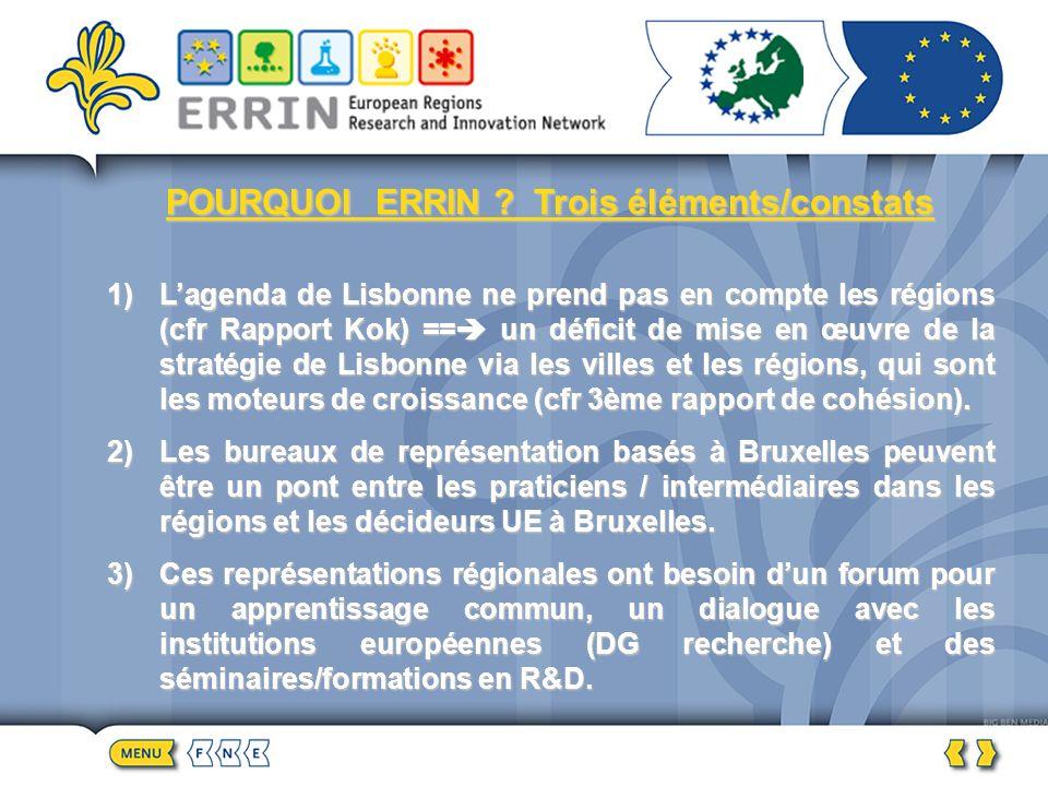 POURQUOI ERRIN ? Trois éléments/constats 1)Lagenda de Lisbonne ne prend pas en compte les régions (cfr Rapport Kok) == un déficit de mise en œuvre de