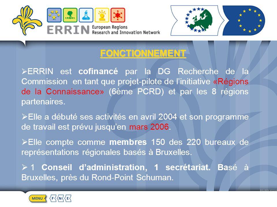 FONCTIONNEMENT ERRIN est cofinancé par la DG Recherche de la Commission en tant que projet-pilote de linitiative «Régions de la Connaissance» (6ème PCRD) et par les 8 régions partenaires.