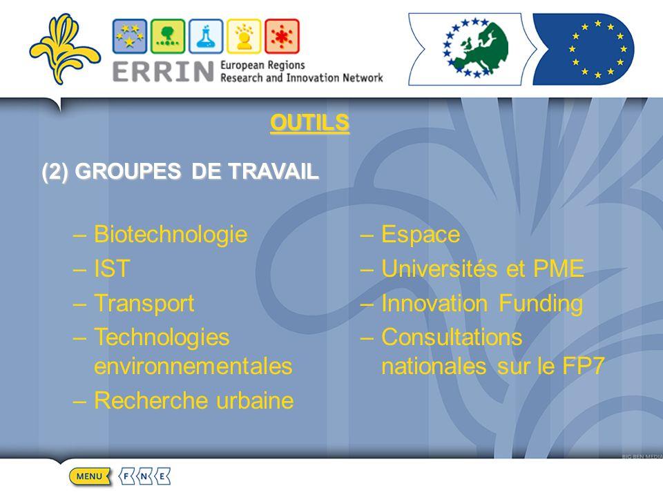 OUTILS (2) GROUPES DE TRAVAIL –Biotechnologie –IST –Transport –Technologies environnementales –Recherche urbaine –Espace –Universités et PME –Innovation Funding –Consultations nationales sur le FP7