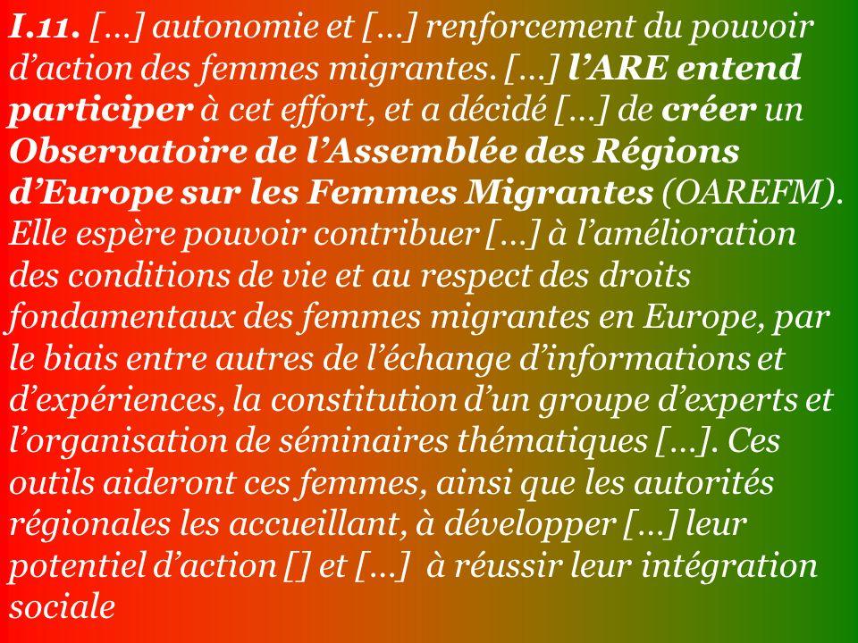 I.11. […] autonomie et […] renforcement du pouvoir daction des femmes migrantes.