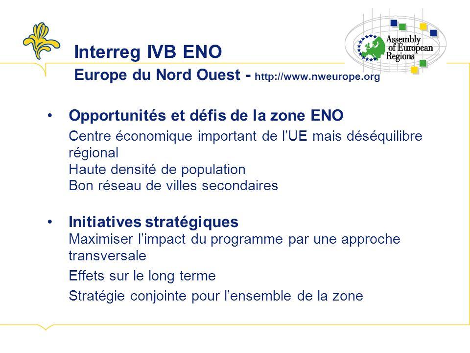Interreg IVB ENO Europe du Nord Ouest - http://www.nweurope.org Opportunités et défis de la zone ENO Centre économique important de lUE mais déséquilibre régional Haute densité de population Bon réseau de villes secondaires Initiatives stratégiques Maximiser limpact du programme par une approche transversale Effets sur le long terme Stratégie conjointe pour lensemble de la zone