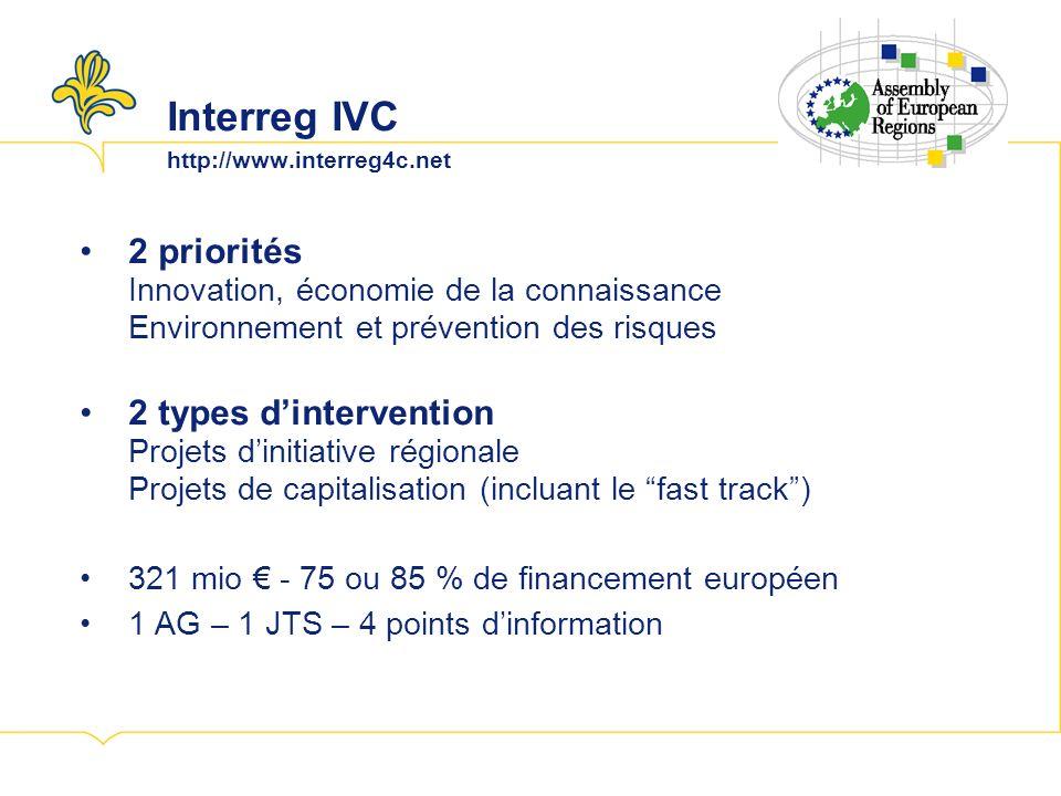 Interreg IVC http://www.interreg4c.net 2 priorités Innovation, économie de la connaissance Environnement et prévention des risques 2 types dintervention Projets dinitiative régionale Projets de capitalisation (incluant le fast track) 321 mio - 75 ou 85 % de financement européen 1 AG – 1 JTS – 4 points dinformation