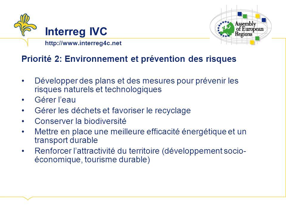 Interreg IVC http://www.interreg4c.net Priorité 2: Environnement et prévention des risques Développer des plans et des mesures pour prévenir les risques naturels et technologiques Gérer leau Gérer les déchets et favoriser le recyclage Conserver la biodiversité Mettre en place une meilleure efficacité énergétique et un transport durable Renforcer lattractivité du territoire (développement socio- économique, tourisme durable)