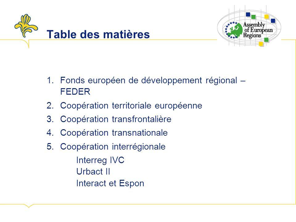 1.Fonds européen de développement régional – FEDER 2.Coopération territoriale européenne 3.Coopération transfrontalière 4.Coopération transnationale 5.Coopération interrégionale Interreg IVC Urbact II Interact et Espon Table des matières