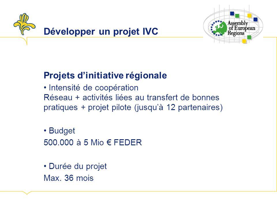 Développer un projet IVC Projets dinitiative régionale Intensité de coopération Réseau + activités liées au transfert de bonnes pratiques + projet pilote (jusquà 12 partenaires) Budget 500.000 à 5 Mio FEDER Durée du projet Max.