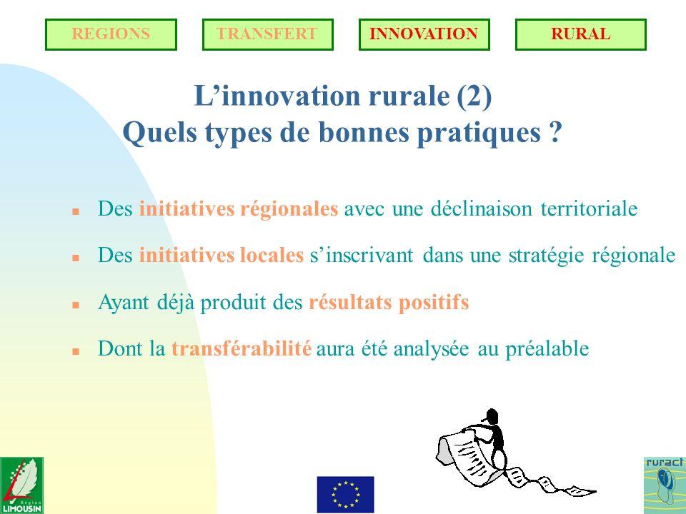 Linnovation rurale (2) Quels types de bonnes pratiques ? n Des initiatives régionales avec une déclinaison territoriale n Des initiatives locales sins