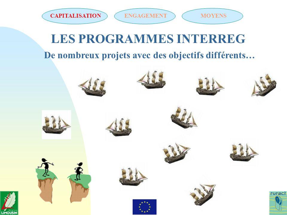 LES PROGRAMMES INTERREG De nombreux projets avec des objectifs différents… CAPITALISATIONENGAGEMENTMOYENS