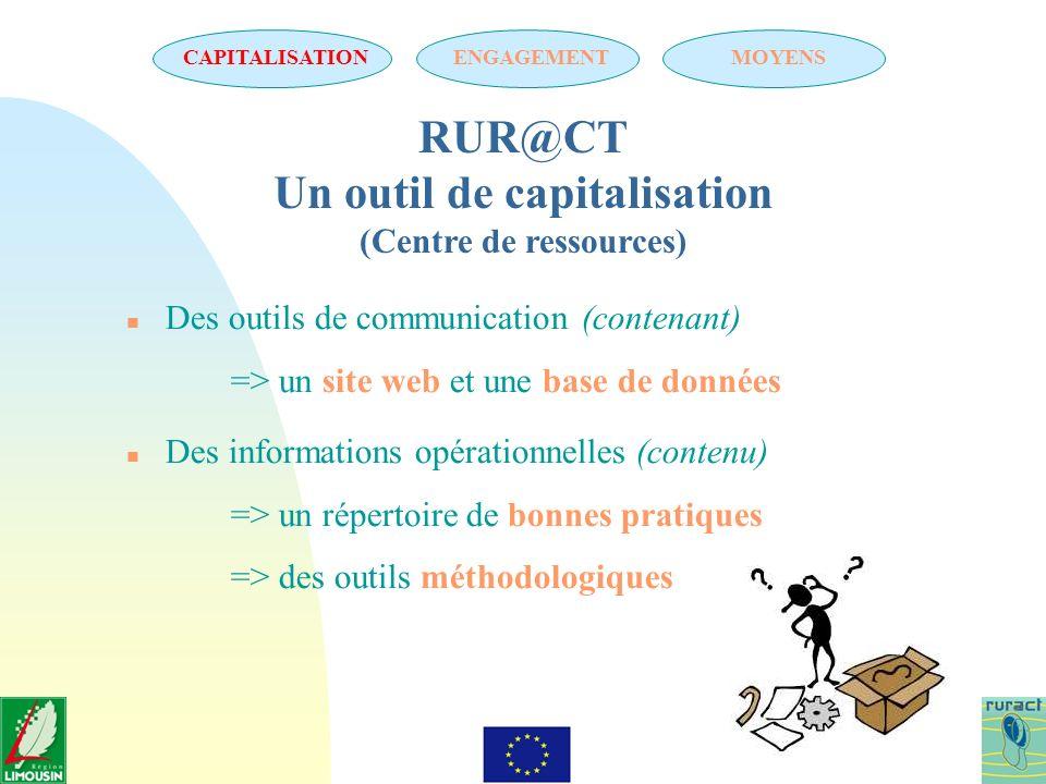 RUR@CT Un outil de capitalisation (Centre de ressources) n Des outils de communication (contenant) => un site web et une base de données n Des informa