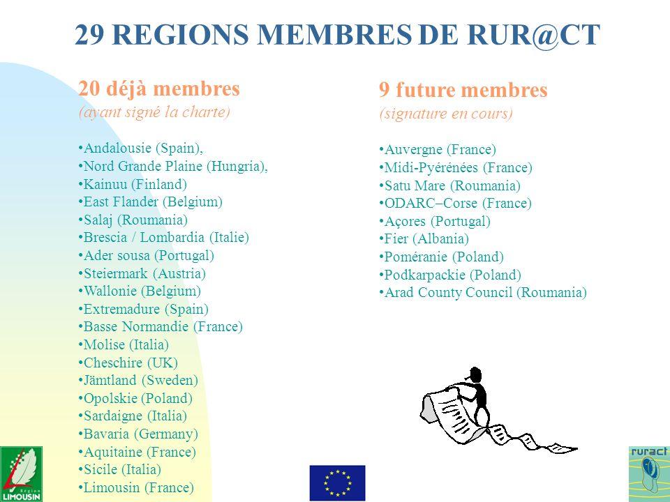 29 REGIONS MEMBRES DE RUR@CT 20 déjà membres (ayant signé la charte) Andalousie (Spain), Nord Grande Plaine (Hungria), Kainuu (Finland) East Flander (Belgium) Salaj (Roumania) Brescia / Lombardia (Italie) Ader sousa (Portugal) Steiermark (Austria) Wallonie (Belgium) Extremadure (Spain) Basse Normandie (France) Molise (Italia) Cheschire (UK) Jämtland (Sweden) Opolskie (Poland) Sardaigne (Italia) Bavaria (Germany) Aquitaine (France) Sicile (Italia) Limousin (France) 9 future membres (signature en cours) Auvergne (France) Midi-Pyérénées (France) Satu Mare (Roumania) ODARC–Corse (France) Açores (Portugal) Fier (Albania) Poméranie (Poland) Podkarpackie (Poland) Arad County Council (Roumania)