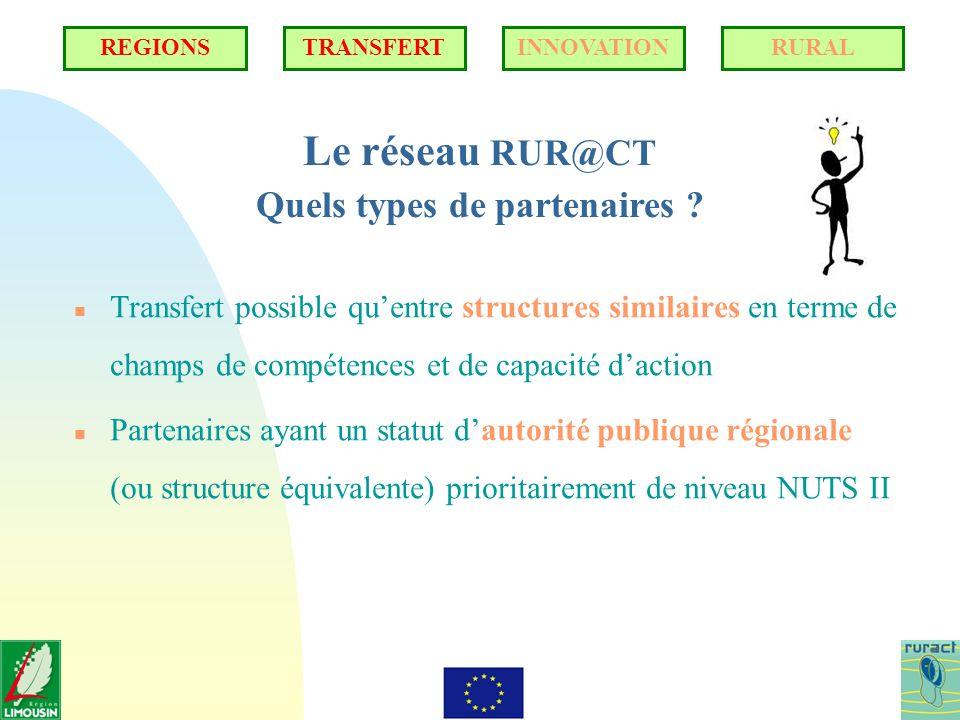 Le réseau RUR@CT Quels types de partenaires ? n Transfert possible quentre structures similaires en terme de champs de compétences et de capacité dact