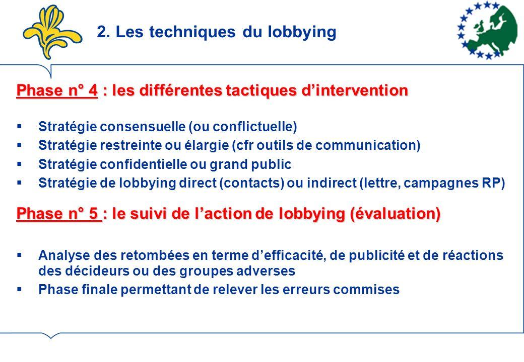 2. Les techniques du lobbying Phase n° 4 : les différentes tactiques dintervention Stratégie consensuelle (ou conflictuelle) Stratégie restreinte ou é