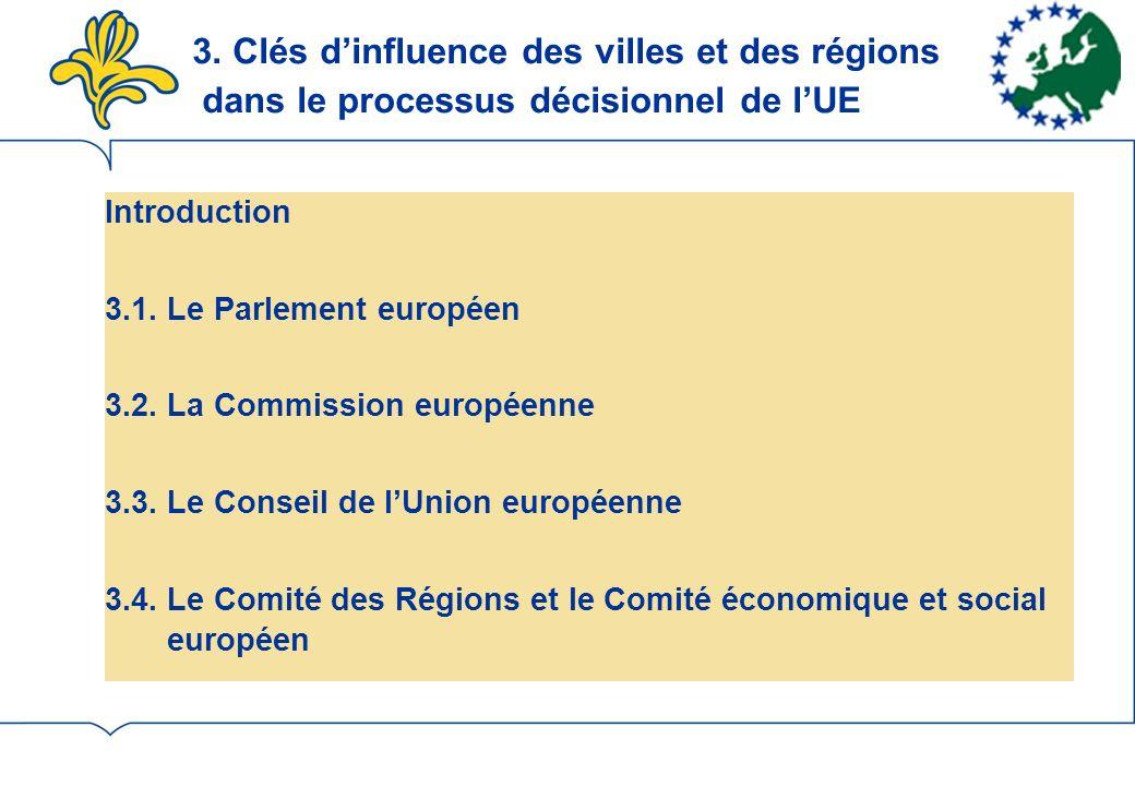 3.Clés dinfluence des villes et des régions dans le processus décisionnel de lUE Introduction 3.1.