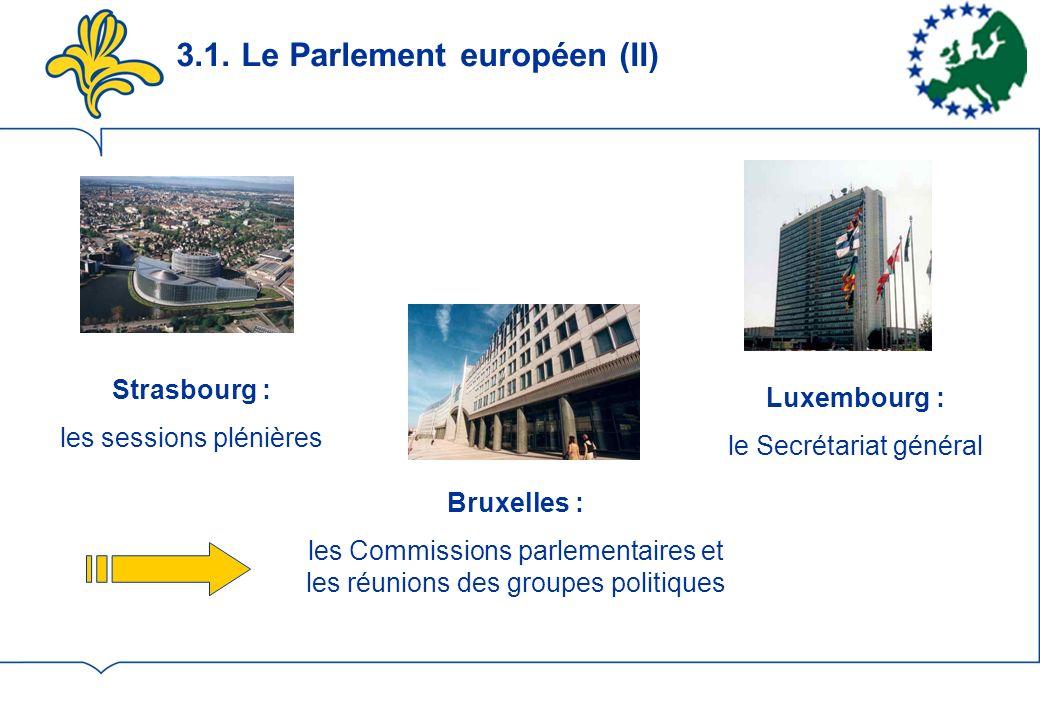 3.1. Le Parlement européen (II) Strasbourg : les sessions plénières Luxembourg : le Secrétariat général Bruxelles : les Commissions parlementaires et