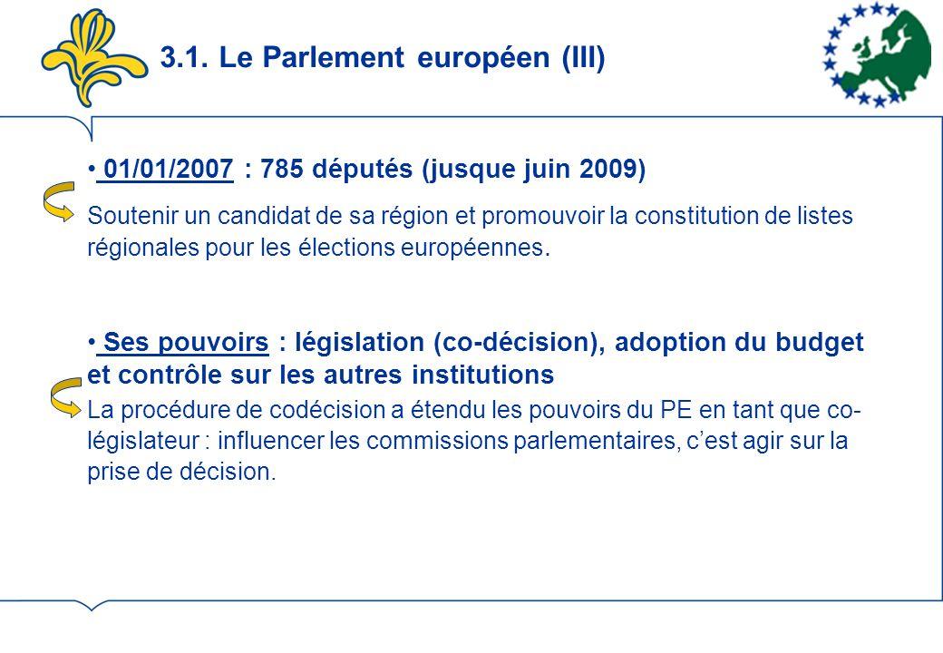 3.1. Le Parlement européen (III) 01/01/2007 : 785 députés (jusque juin 2009) Soutenir un candidat de sa région et promouvoir la constitution de listes