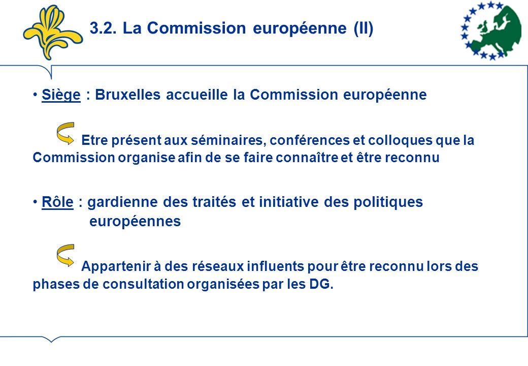3.2. La Commission européenne (II) Siège : Bruxelles accueille la Commission européenne Etre présent aux séminaires, conférences et colloques que la C