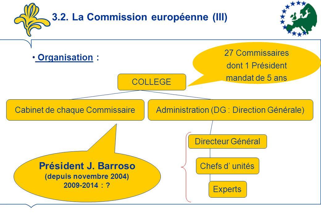 3.2. La Commission européenne (III) Organisation : COLLEGE Administration (DG : Direction Générale)Cabinet de chaque Commissaire Directeur Général Che