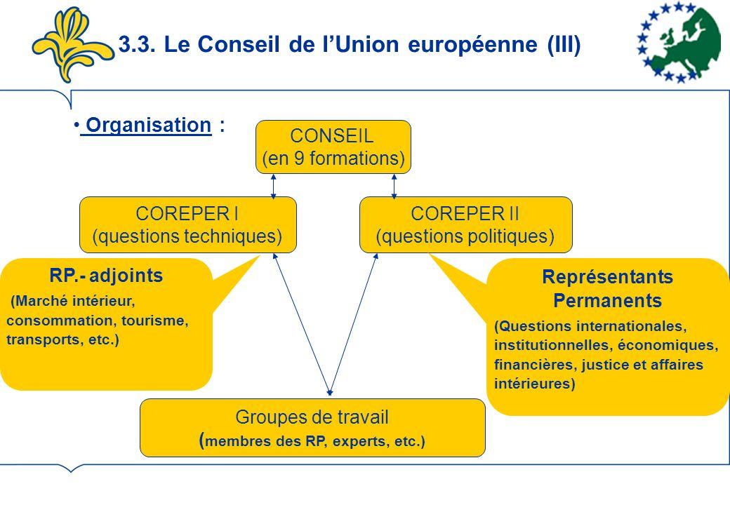 3.3. Le Conseil de lUnion européenne (III) Organisation : CONSEIL (en 9 formations) COREPER I (questions techniques) COREPER II (questions politiques)