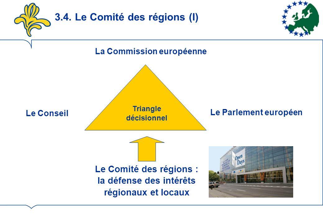 3.4. Le Comité des régions (I) Le Conseil Le Parlement européen La Commission européenne Le Comité des régions : la défense des intérêts régionaux et