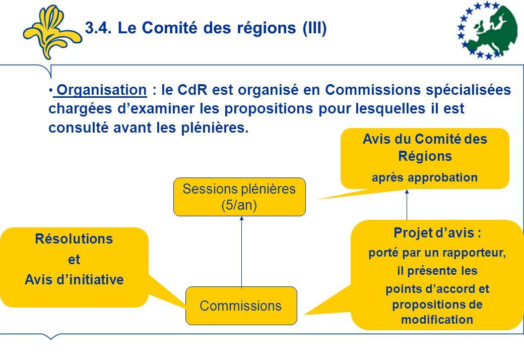3.4. Le Comité des régions (III) Sessions plénières (5/an) Commissions Projet davis : porté par un rapporteur, il présente les points daccord et propo