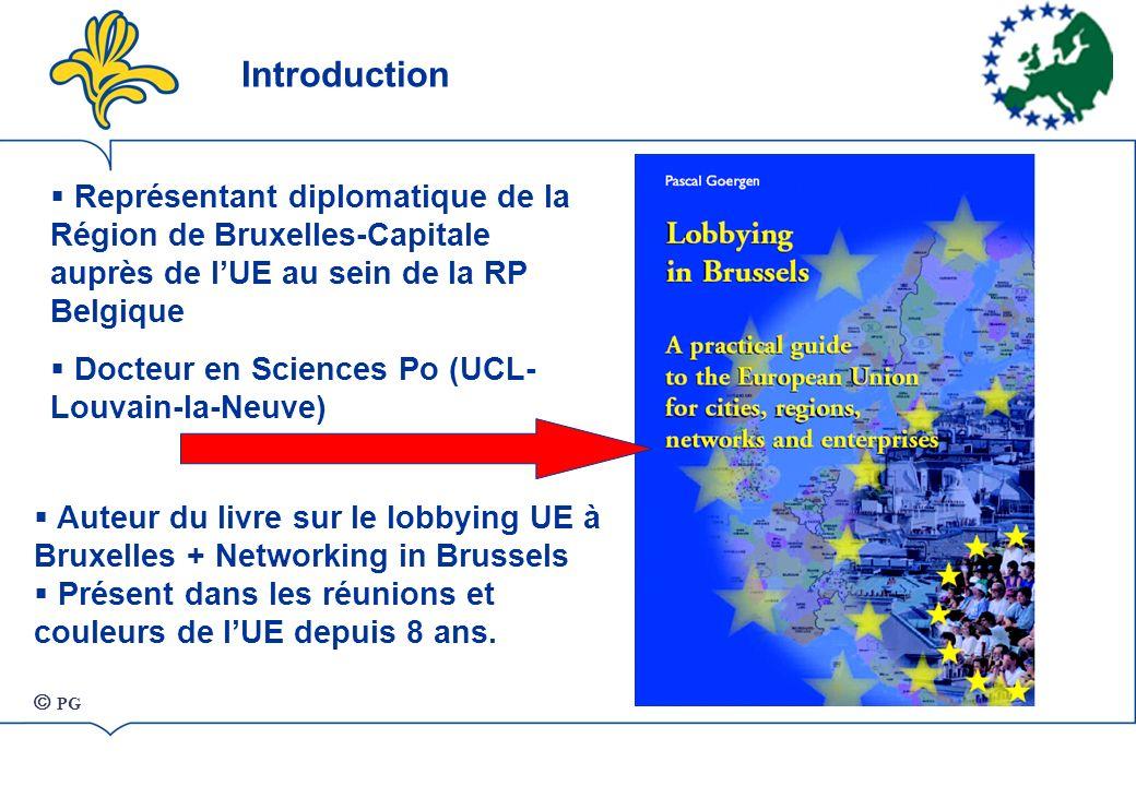 Introduction Représentant diplomatique de la Région de Bruxelles-Capitale auprès de lUE au sein de la RP Belgique Docteur en Sciences Po (UCL- Louvain-la-Neuve) Auteur du livre sur le lobbying UE à Bruxelles + Networking in Brussels Présent dans les réunions et couleurs de lUE depuis 8 ans.