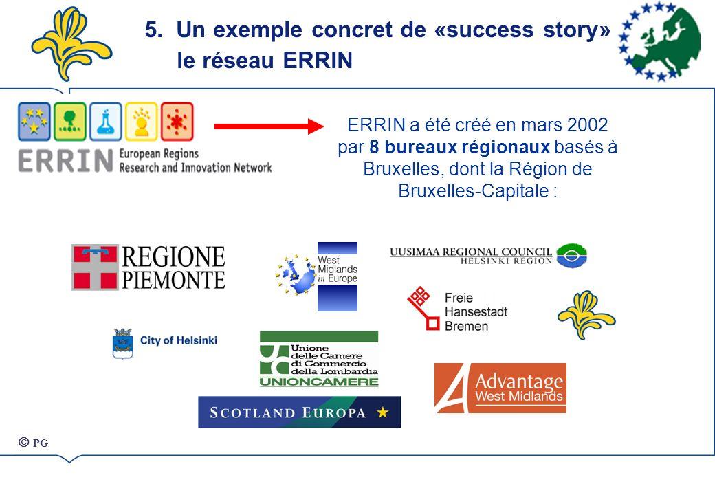 5. Un exemple concret de «success story» : le réseau ERRIN POSSIBLE TARGETS ERRIN ERRIN a été créé en mars 2002 par 8 bureaux régionaux basés à Bruxel