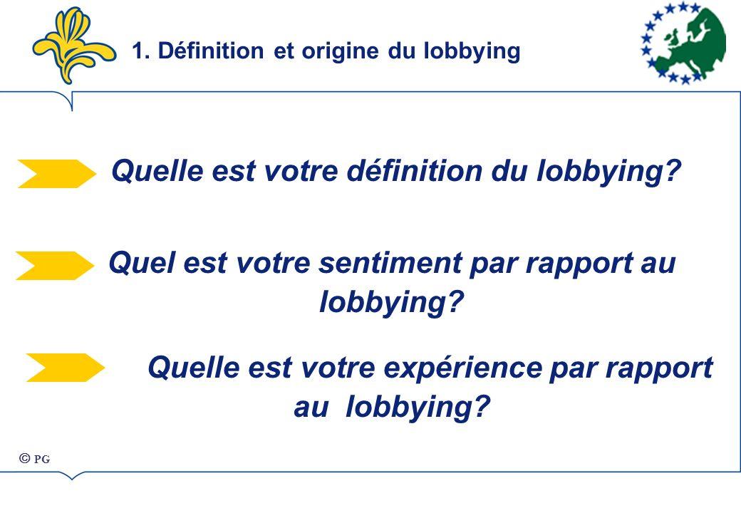 Quelle est votre définition du lobbying.Quel est votre sentiment par rapport au lobbying.