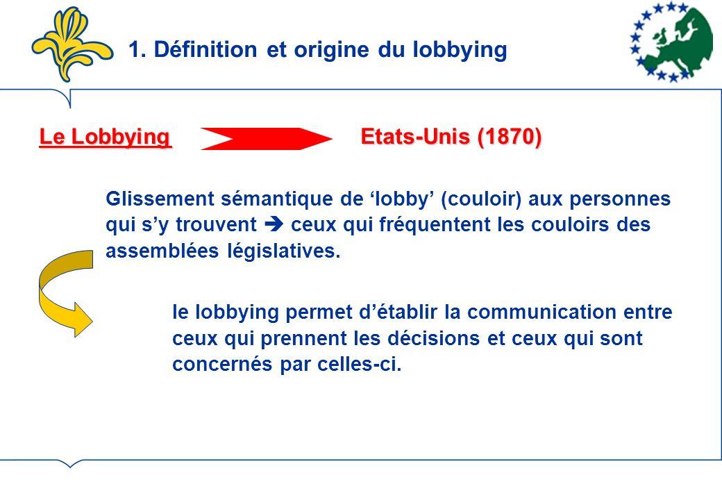 1. Définition et origine du lobbying Le Lobbying Etats-Unis (1870) Glissement sémantique de lobby (couloir) aux personnes qui sy trouvent ceux qui fré