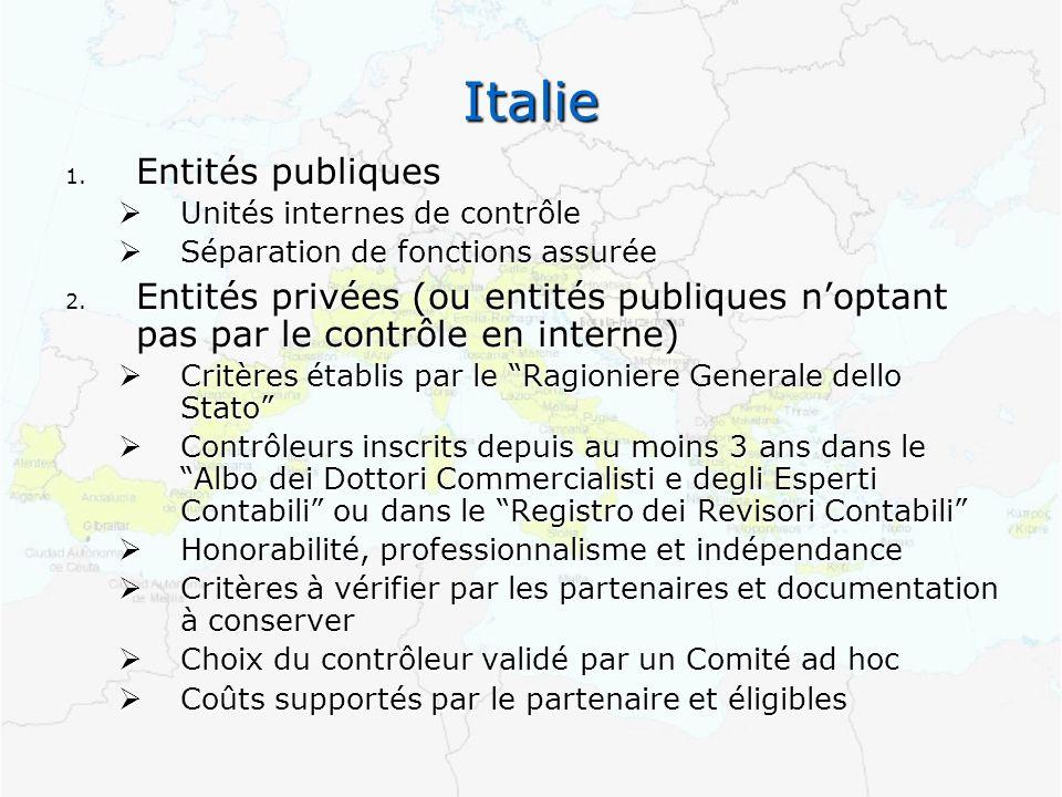 Italie 1. Entités publiques Unités internes de contrôle Unités internes de contrôle Séparation de fonctions assurée Séparation de fonctions assurée 2.