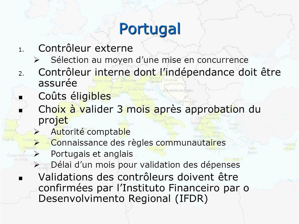 Portugal 1. Contrôleur externe Sélection au moyen dune mise en concurrence Sélection au moyen dune mise en concurrence 2. Contrôleur interne dont lind