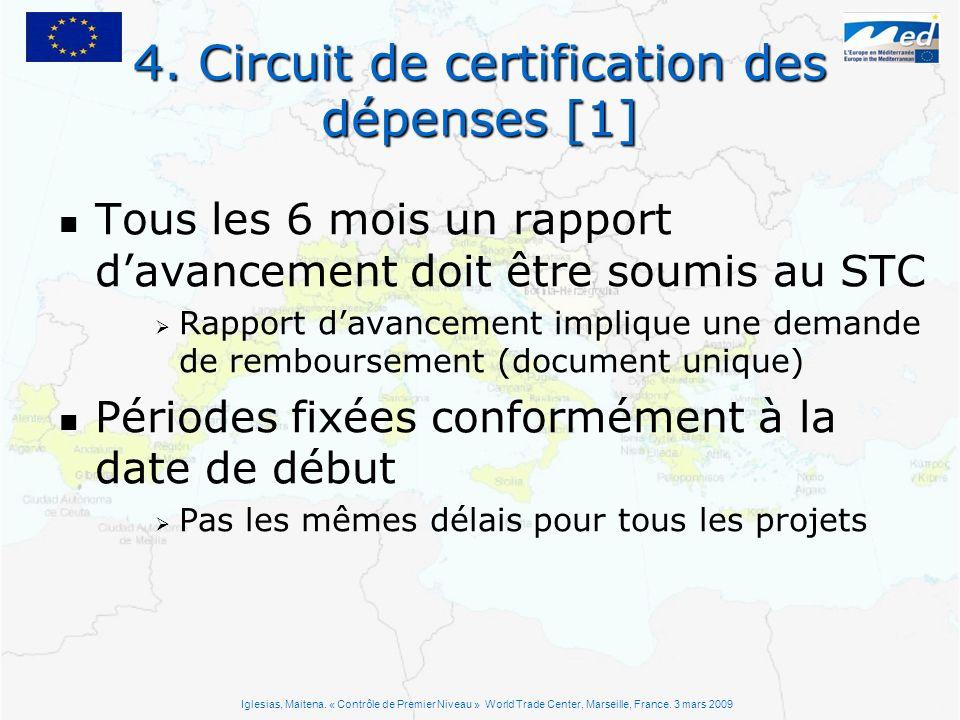 4. Circuit de certification des dépenses [1] Tous les 6 mois un rapport davancement doit être soumis au STC Rapport davancement implique une demande d