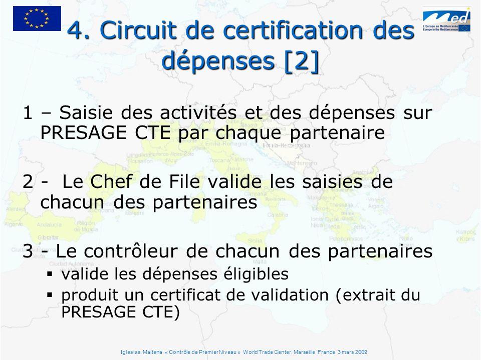 4. Circuit de certification des dépenses [2] 1 – Saisie des activités et des dépenses sur PRESAGE CTE par chaque partenaire 2 - Le Chef de File valide