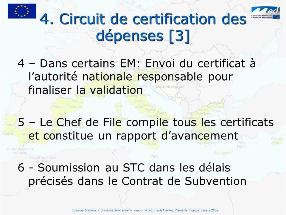 4. Circuit de certification des dépenses [3] 4 – Dans certains EM: Envoi du certificat à lautorité nationale responsable pour finaliser la validation