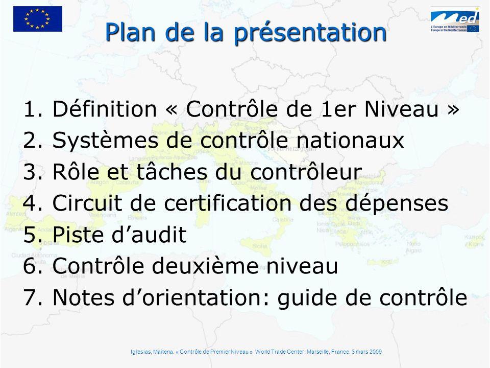 Plan de la présentation 1. Définition « Contrôle de 1er Niveau » 2. Systèmes de contrôle nationaux 3. Rôle et tâches du contrôleur 4. Circuit de certi